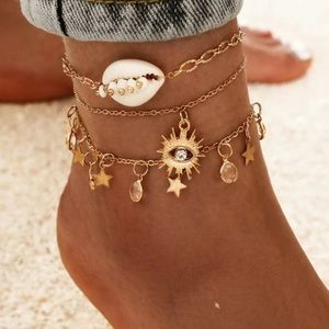 NEW 3 Piece Shell Evil Eye Star Ankle Bracelet set
